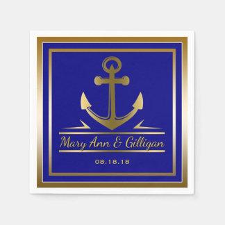 Gold Anchor Nautical Modern Wedding Navy Blue Paper Napkin