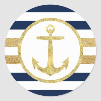 Gold Anchor Nautical Navy Stripes Envelope Seal Round Sticker