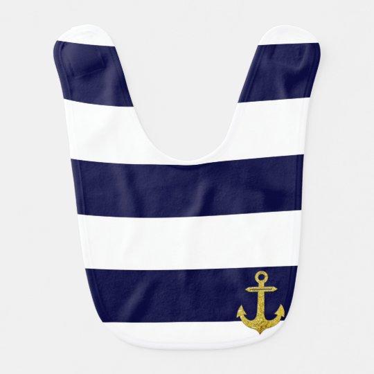 Gold anchor nautical stripes bib