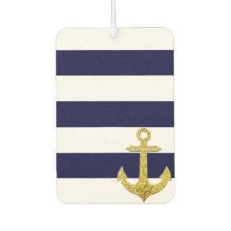 Gold anchor nautical stripes car air freshener