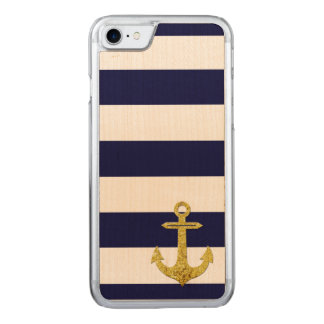 Gold anchor nautical stripes carved iPhone 8/7 case