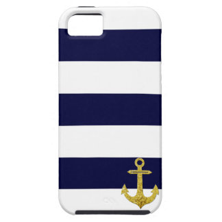 Gold anchor nautical stripes case for the iPhone 5