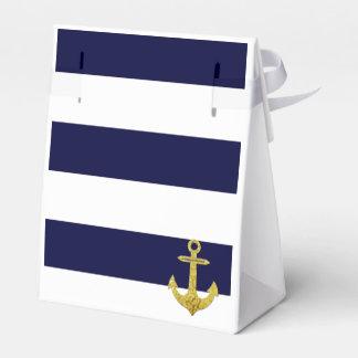 Gold anchor nautical stripes favor box