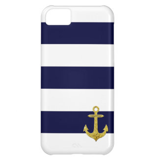 Gold anchor nautical stripes iPhone 5C covers