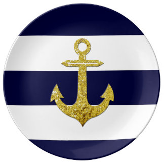 Gold anchor nautical stripes plate
