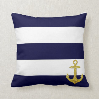 Gold anchor nautical stripes throw pillow
