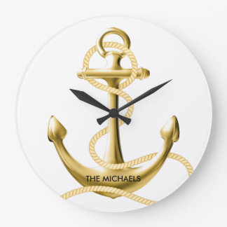 Gold anchor nautical wall clock Personalized