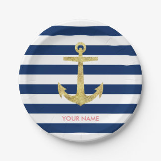 Gold Anchor Navy Blue Stripes Nautical Paper Plate