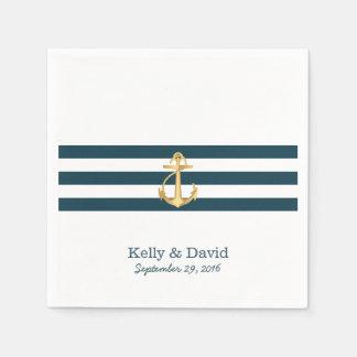 Gold Anchor Navy Blue Stripes Nautical Wedding Paper Napkin