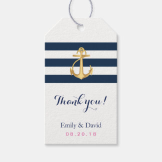 Gold Anchor Navy Stripes Nautical Wedding Favor Gift Tags