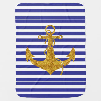Gold Anchor on Blue Stripes Baby Blanket