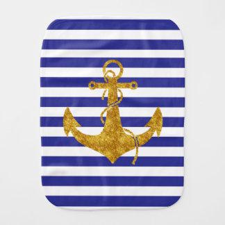 Gold Anchor on Blue Stripes Burp Cloth