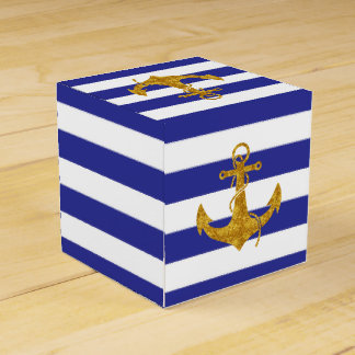 Gold Anchor on Blue Stripes Favor Box