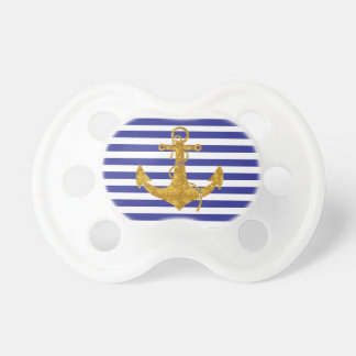 Gold Anchor on Blue Stripes Pacifiers