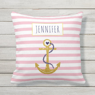 Gold  anchor pink striped pattern trendy nautical throw pillow