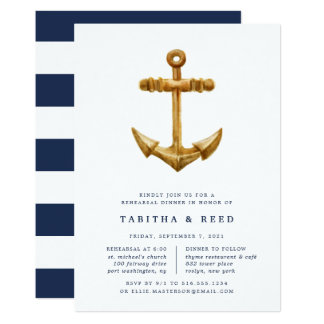 Gold Anchor | Rehearsal Dinner Invitation