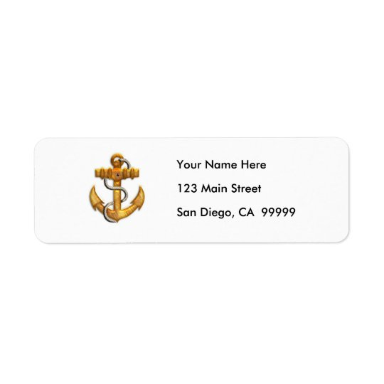 Gold Anchor Return Address Label