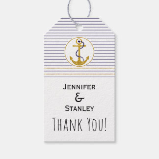 Gold anchor stripes nautical wedding Thank You Pack Of Gift Tags
