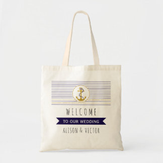 Gold anchor stripes nautical wedding welcome bag