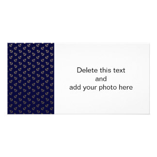 Gold Anchors Navy Blue Background Pattern Picture Card