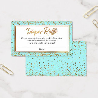 Gold and Aqua Confetti Diaper Raffle Ticket Cards