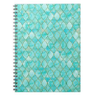Gold and Aqua Maroccan pattern Note Book