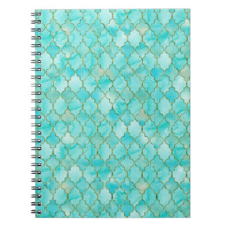 Gold and Aqua Maroccan pattern Notebook