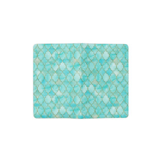 Gold and Aqua Maroccan pattern Pocket Moleskine Notebook