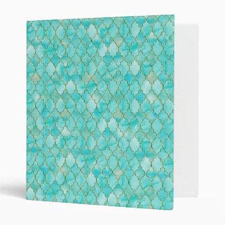 Gold and Aqua Maroccan pattern Vinyl Binder