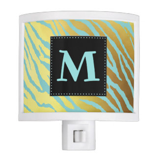 Gold and Aqua Tiger Striped Monogrammed Night Lite