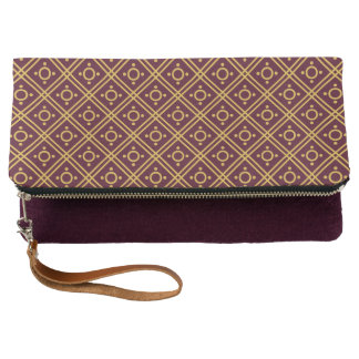 Gold-and-Aubergine Patterned Fold-Over Clutch
