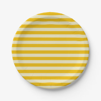 Gold and Beige Stripes 7 Inch Paper Plate