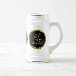Gold and black 50th Anniversary Celebration Beer Stein