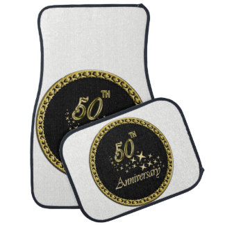 Gold and black 50th Anniversary Celebration Car Mat
