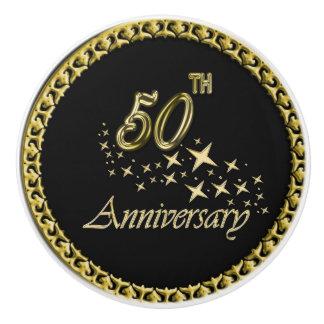 Gold and black 50th Anniversary Celebration Ceramic Knob