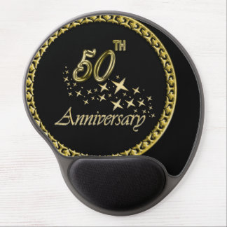 Gold and black 50th Anniversary Celebration Gel Mouse Pad