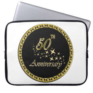 Gold and black 50th Anniversary Celebration Laptop Sleeve