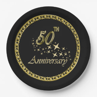 Gold and black 50th Anniversary Celebration Paper Plate