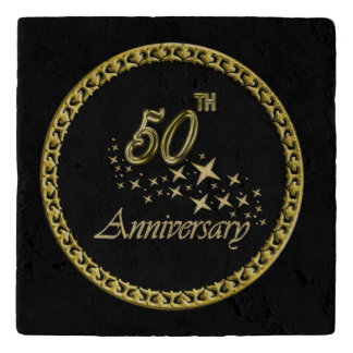 Gold and black 50th Anniversary Celebration Trivet