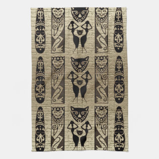 Gold and Black African Style Motif Design Kitchen Towel