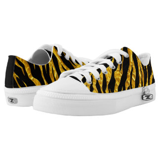 Gold And Black Animal Tigers Stripes Low-Top Sneakers