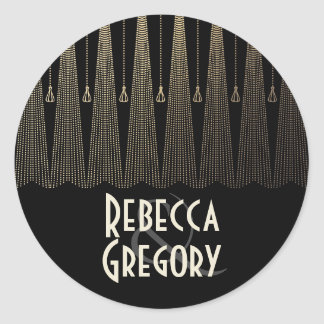 Gold and Black Art Deco Chic Vintage Wedding Round Sticker