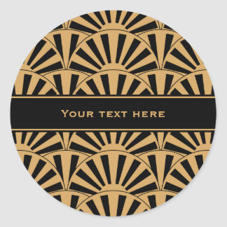 Gold and Black Art Deco Fan Flowers Motif Classic Round Sticker