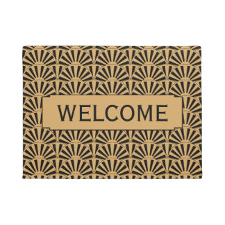 Gold and Black Art Deco Fan Flowers Motif Doormat