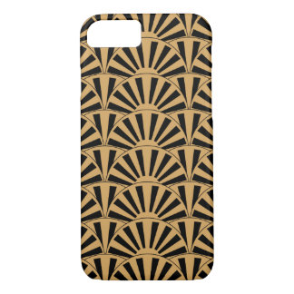 Gold and Black Art Deco Fan Flowers Motif iPhone 8/7 Case