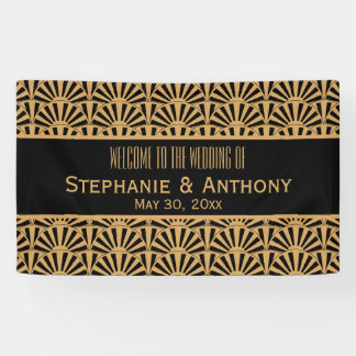 Gold and Black Art Deco Fan Flowers Wedding Banner