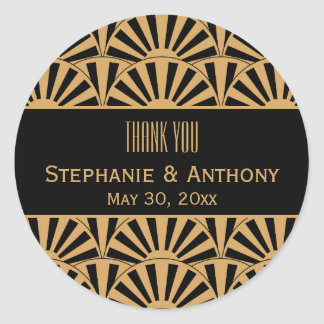 Gold and Black Art Deco Fan Flowers Wedding Round Sticker