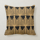 Gold and Black Art Deco Pattern Throw Pillow