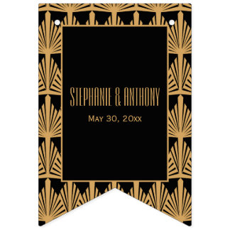 Gold and Black Art Deco Pattern Wedding Bunting Flags