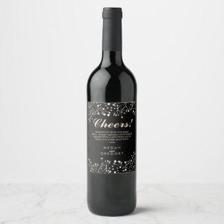 Gold and Black Baby's Breath Elegant Wine Label